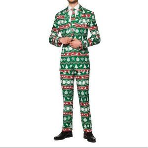 Suitmeister Christmas Suit Nordic Retro Green NWT